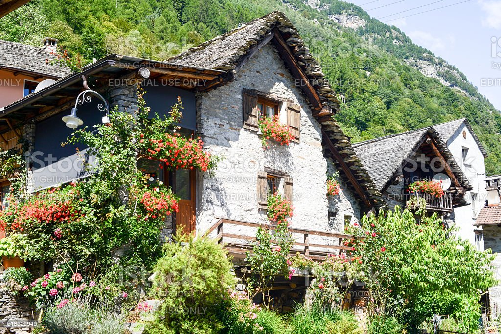 The rural village of Sonogno on Verzasca valley stock photo
