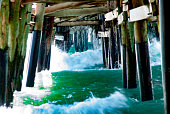 the rusing tide shot from underneath the Newport beach pier