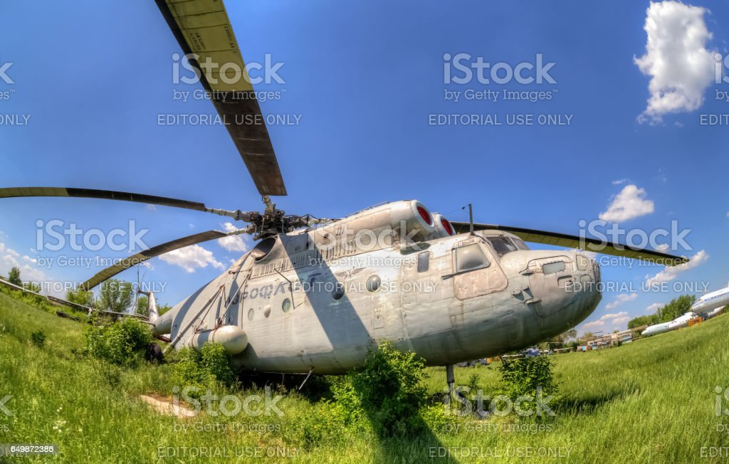 The russian heavy transport helicopter Mi-6 at an abandoned aerodrome. stock photo