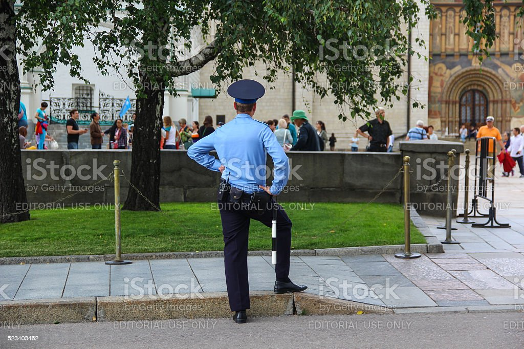 The russian policeman in the Kremlin in Central Moscow stock photo