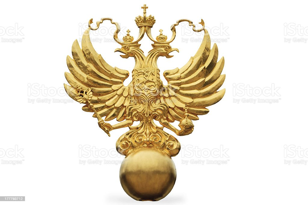 the Russian State Emblem - a double headed eagle stock photo