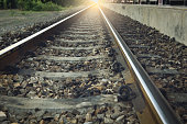 The rusted railroad train tracks
