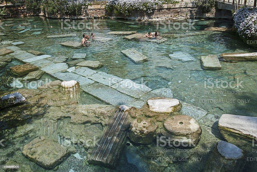 The Sacred Pool in Pamukkale, Turkey royalty-free stock photo