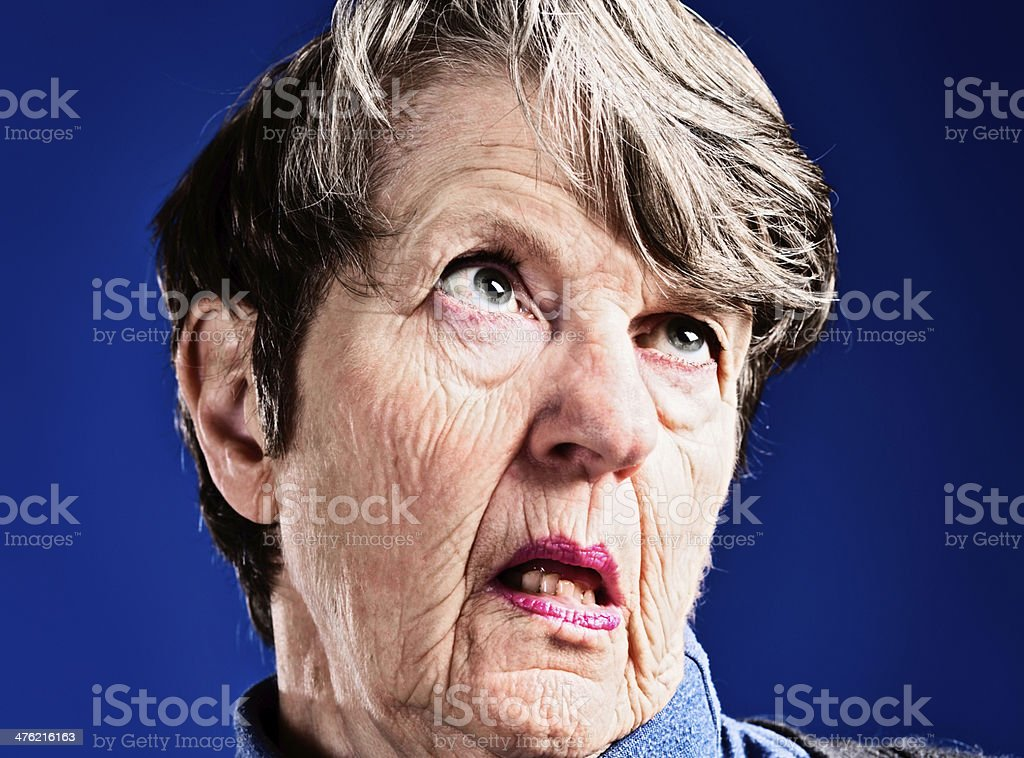 The sad reality of old age for some: Alzheimers patient royalty-free stock photo