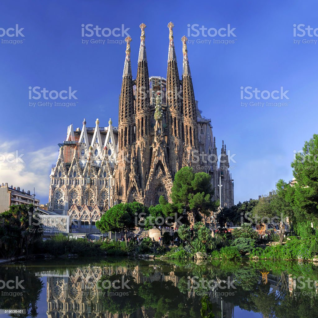 BARCELONA, SPAIN - OCTOBER 8: La Sagrada Familia cathedral stock photo
