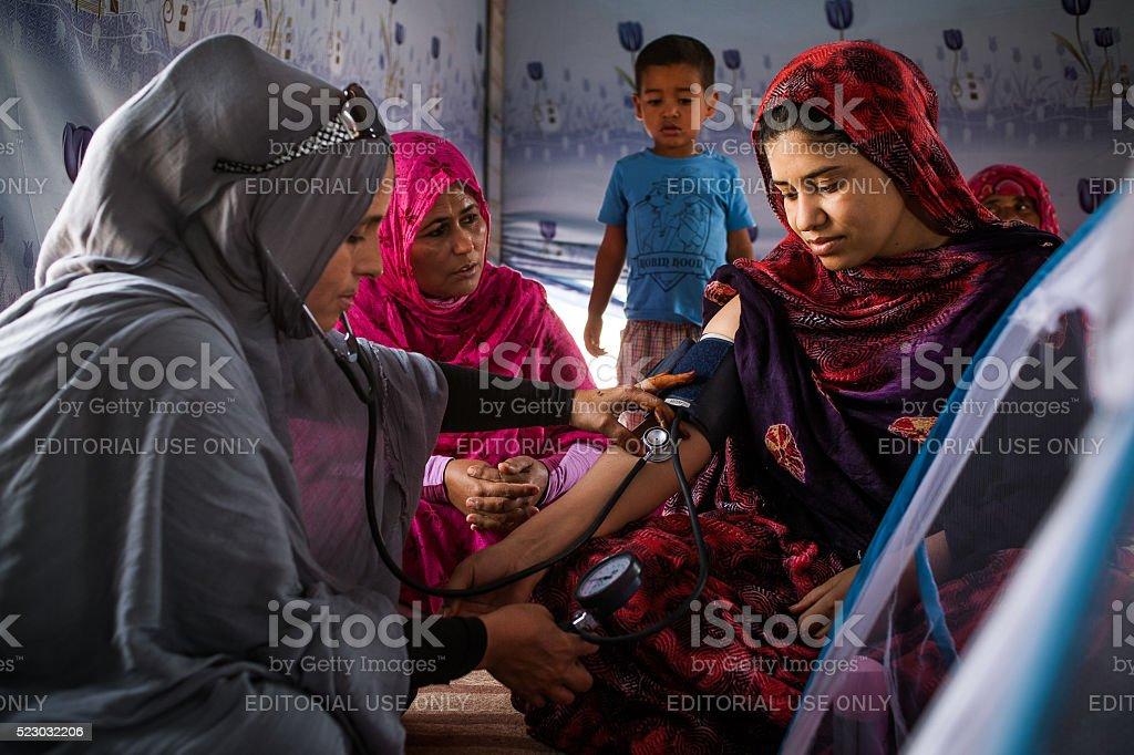 The Sahrawi midwife stock photo