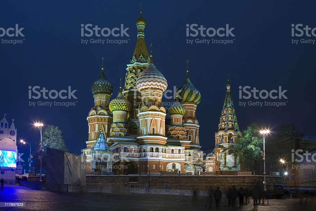 The Saint Basil's cathedral at night (Moscow, Red square) stock photo