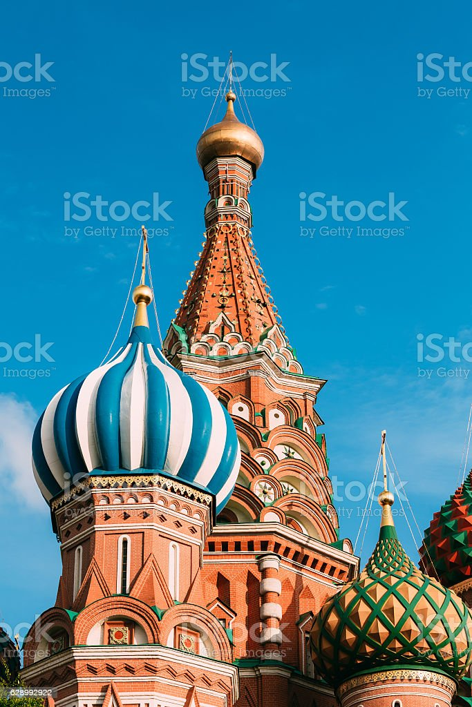 The Saint Basil's Cathedral, is famous church in Red Square stock photo