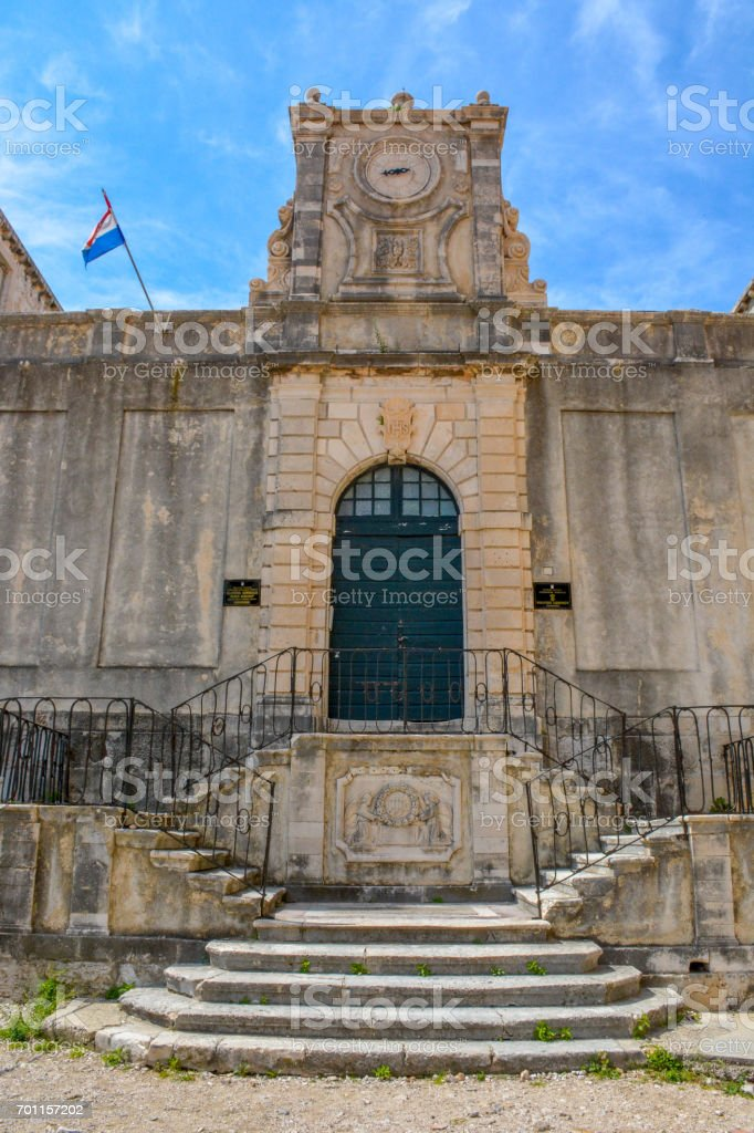 The Saint Ignatius Church in the Old Town of Dubrovnik, Croatia stock photo