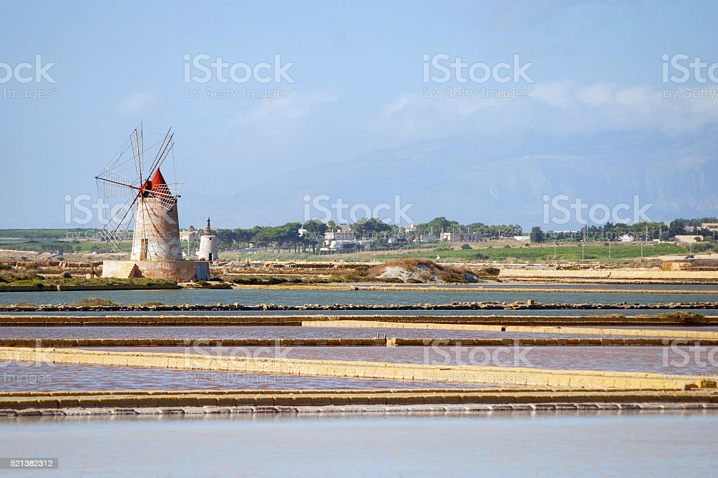 Le saline di Marsala stock photo