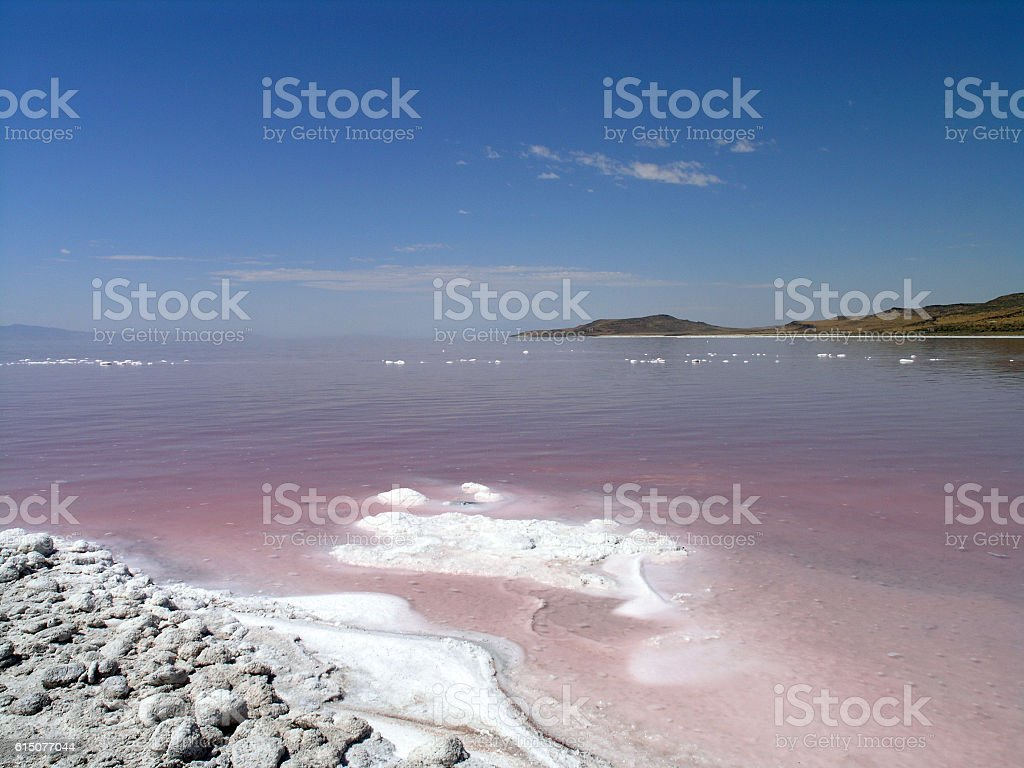 The salty shore of the great Salt Lake stock photo