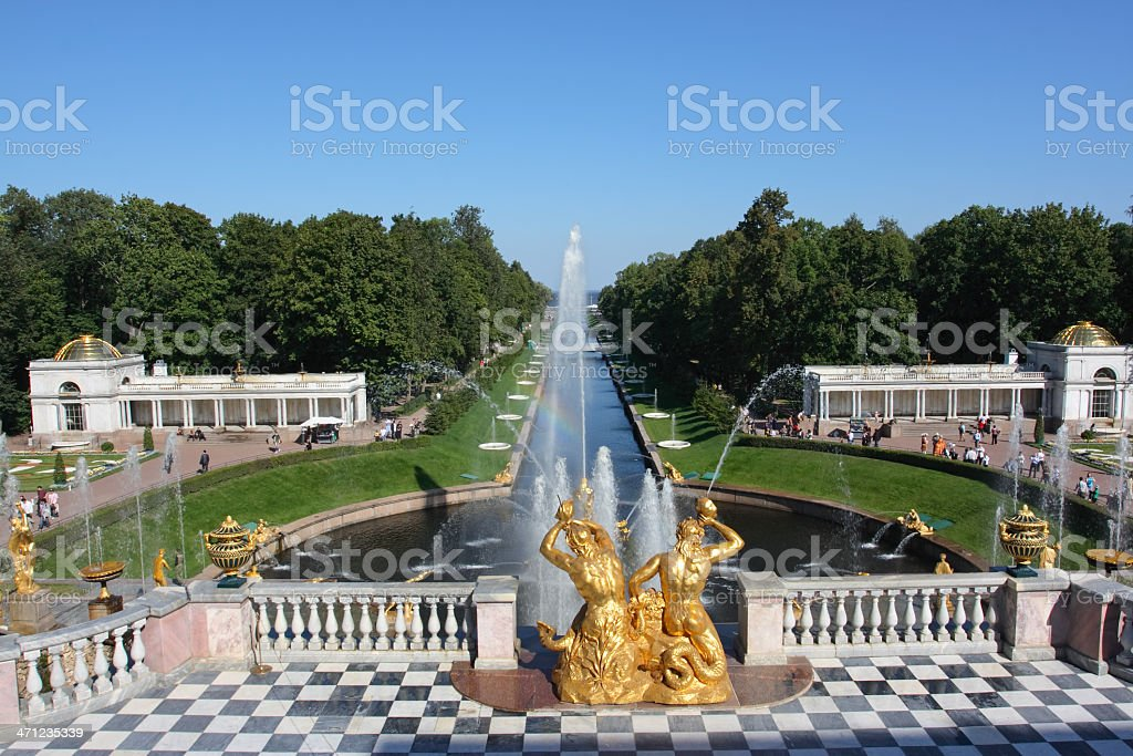The Samson Fountain and Sea Channel in Peterhof (St. Petersburg) stock photo