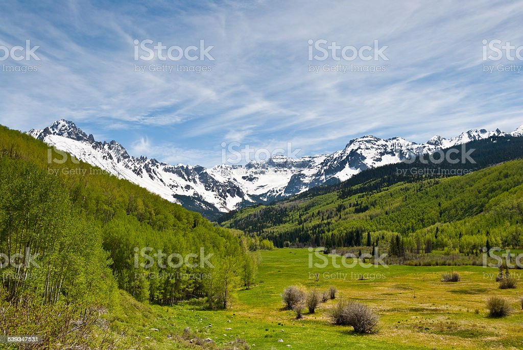 Dallas Creek Valley and the Sneffels Range stock photo