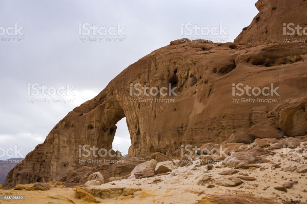 The sand arch in the timna park in Israel stock photo