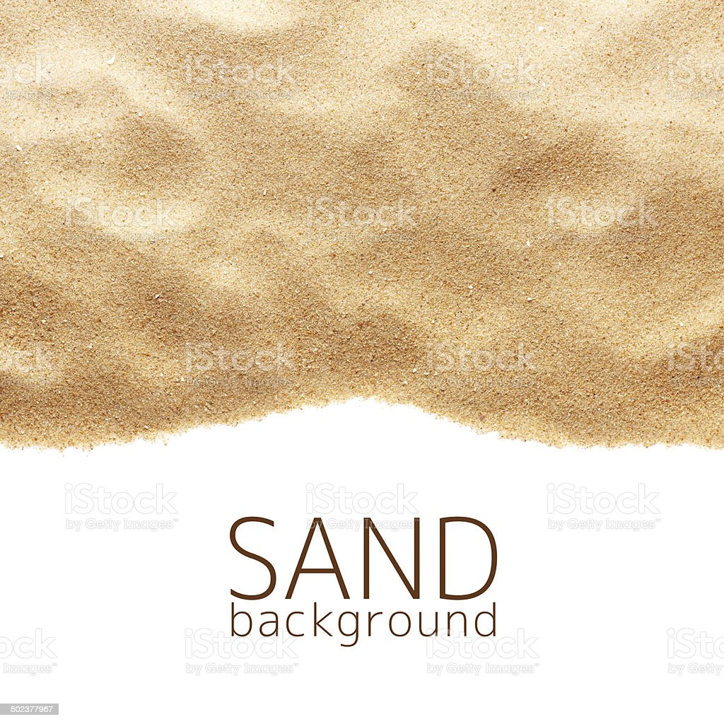 The sand scattering isolated on white background stock photo