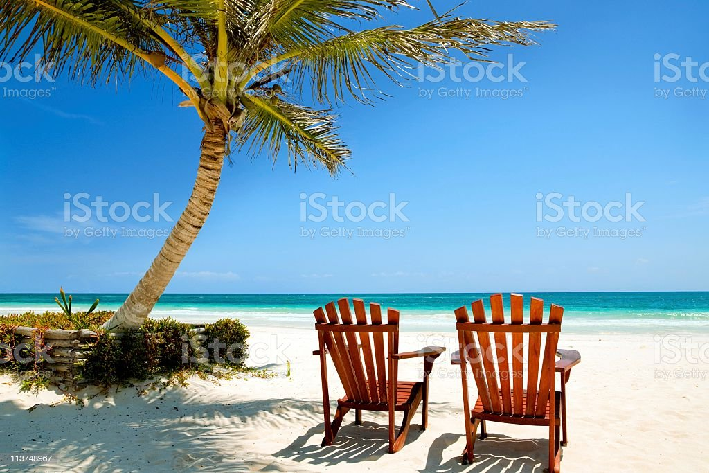 The sandy, sunny beach and sea at West Palm Beach, Florida royalty-free stock photo