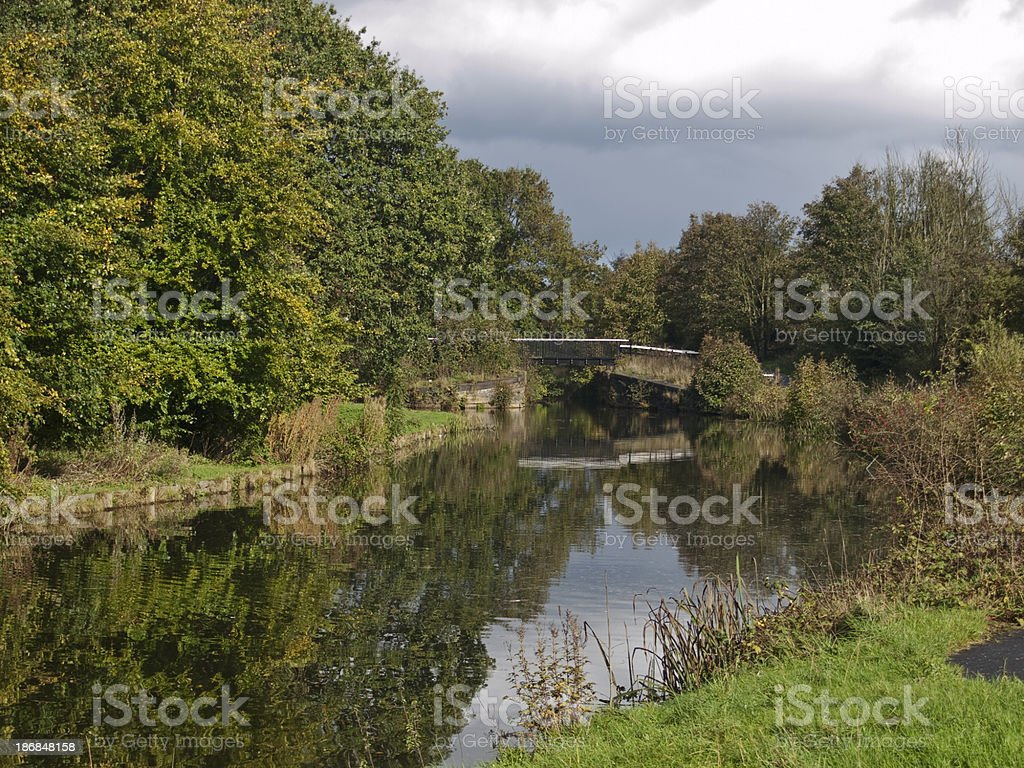 The Sankey canal near Bewsey Old Hall in Warrington. stock photo