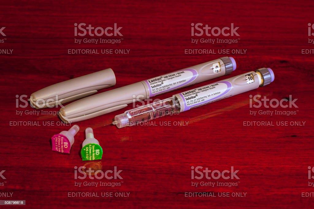 The Sanofi-aventis Lantus Glargine Insulin Pen stock photo