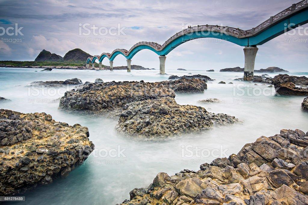 The Sansiantai Dragon Bridge stock photo