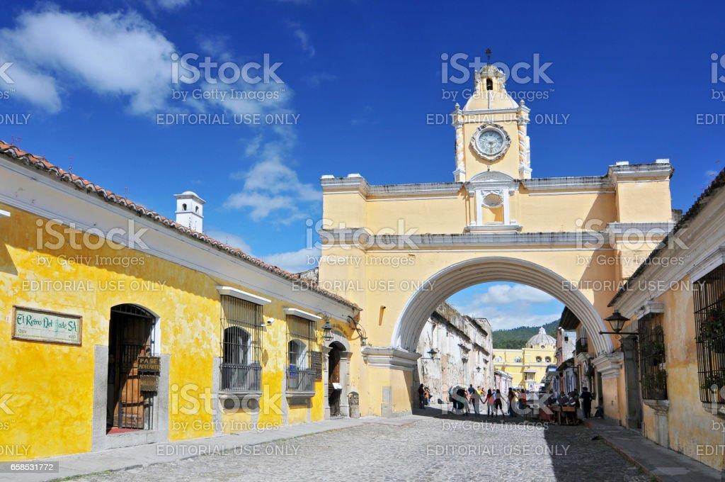 The Santa Catalina arch in Guatemala, Antigua. stock photo