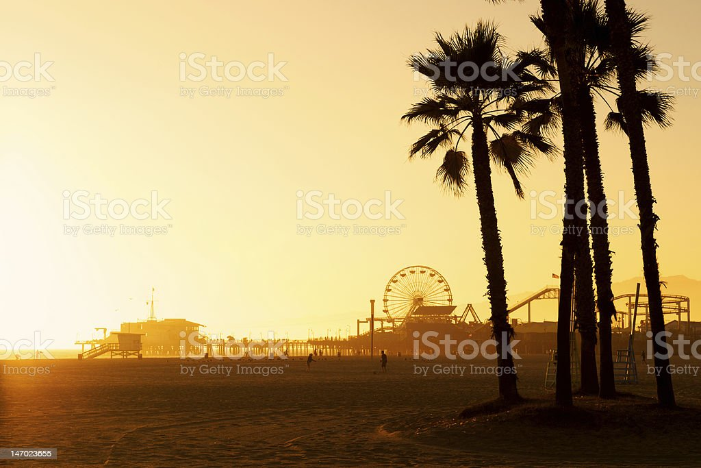 The Santa Monica pier at sunset stock photo