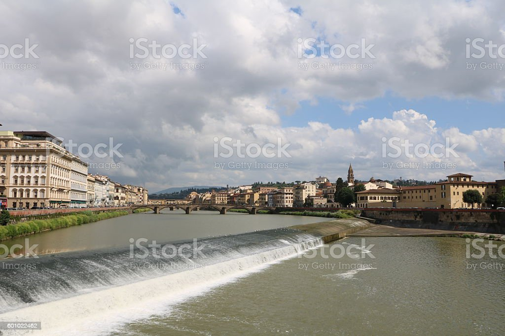 The Santa Rosa weir and Arno River in Florence, Italy stock photo