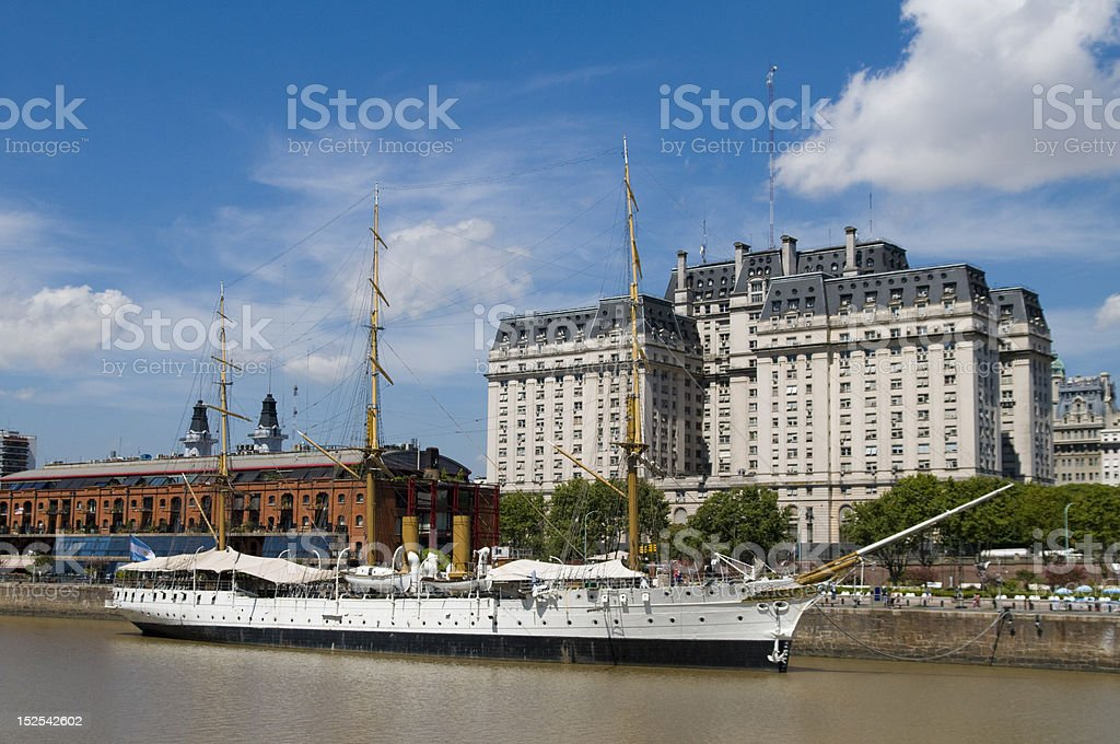 The Sarmiento Frigate and Puerto Madero stock photo