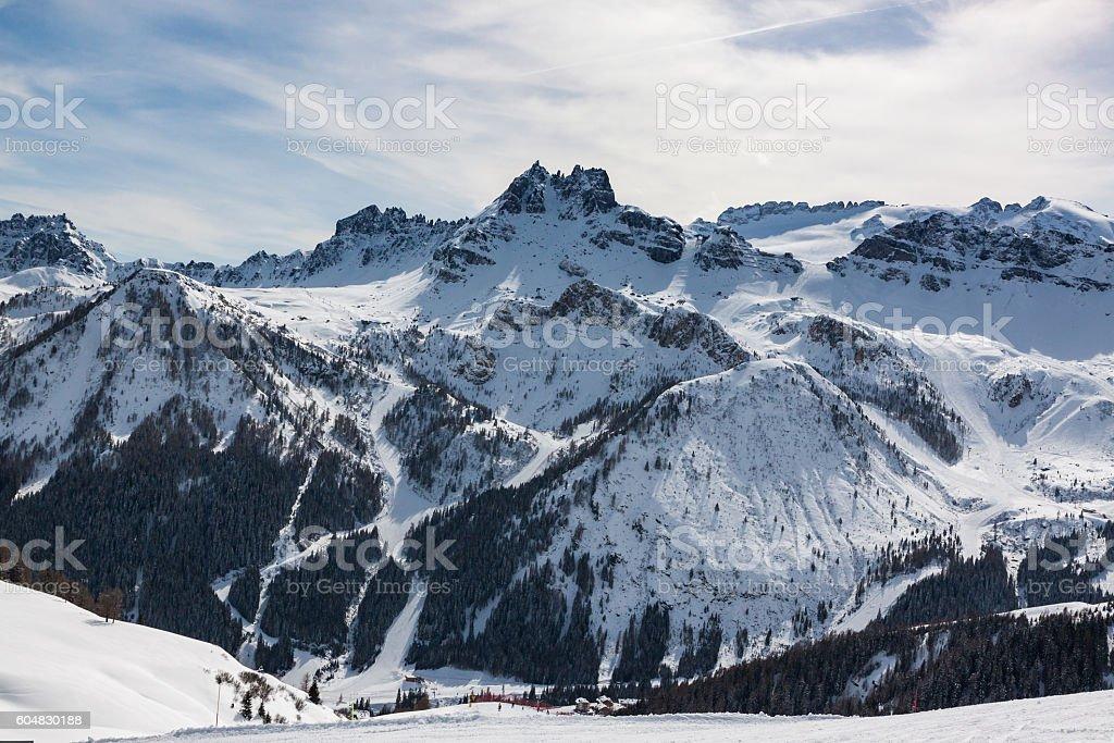 The Sassolungo (Langkofel) Group of the Italian Dolomites in Winter stock photo