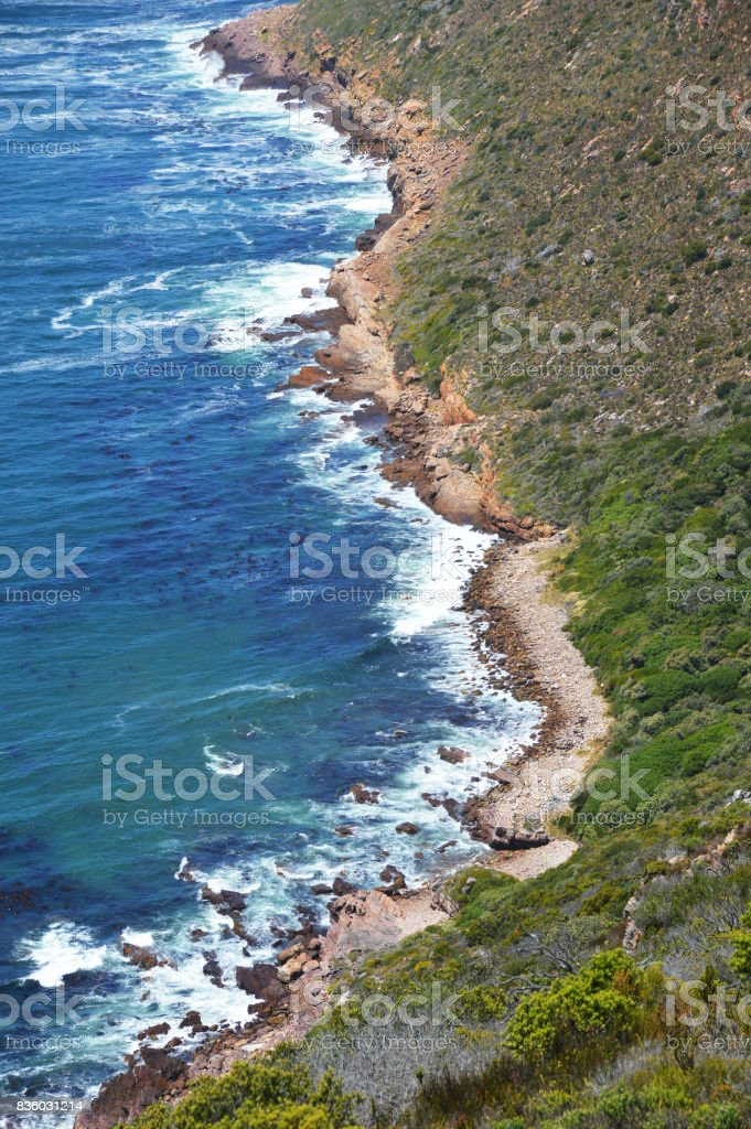 the savage beach and rocks at Cape of good hope stock photo
