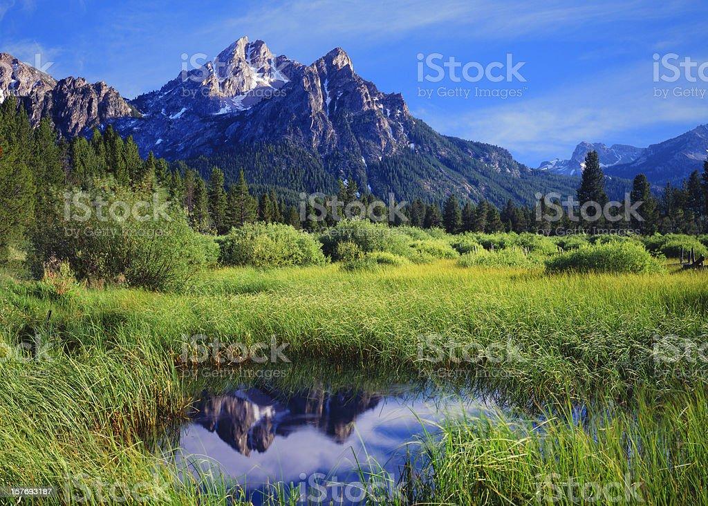 The Sawtooth Mountain Range, Stanley Idaho stock photo