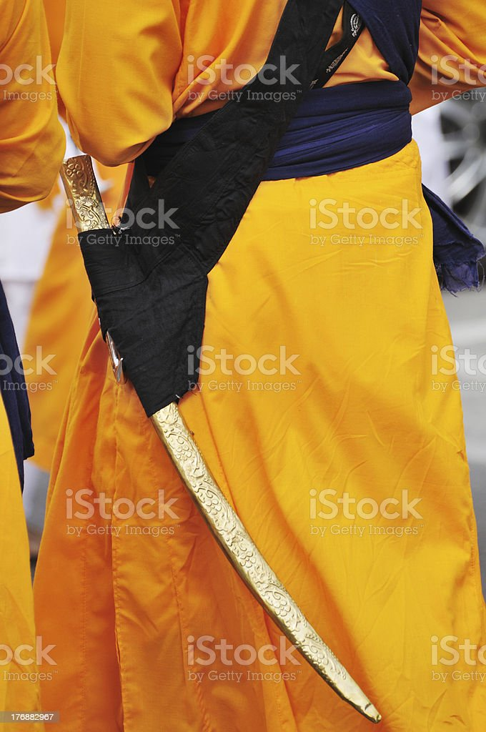 The scabbard of a kirpan stock photo