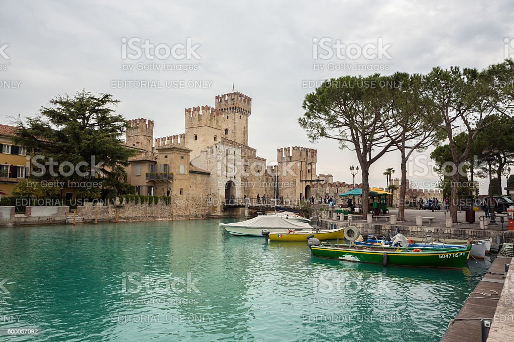 The Scaliger Castle in Sirmione, Lake Garda Lombardy Italy stock photo