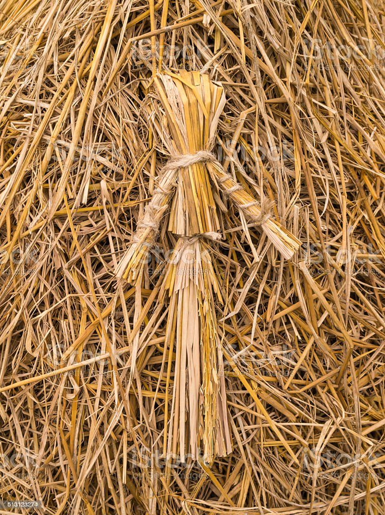 The scarecrow with straw background stock photo