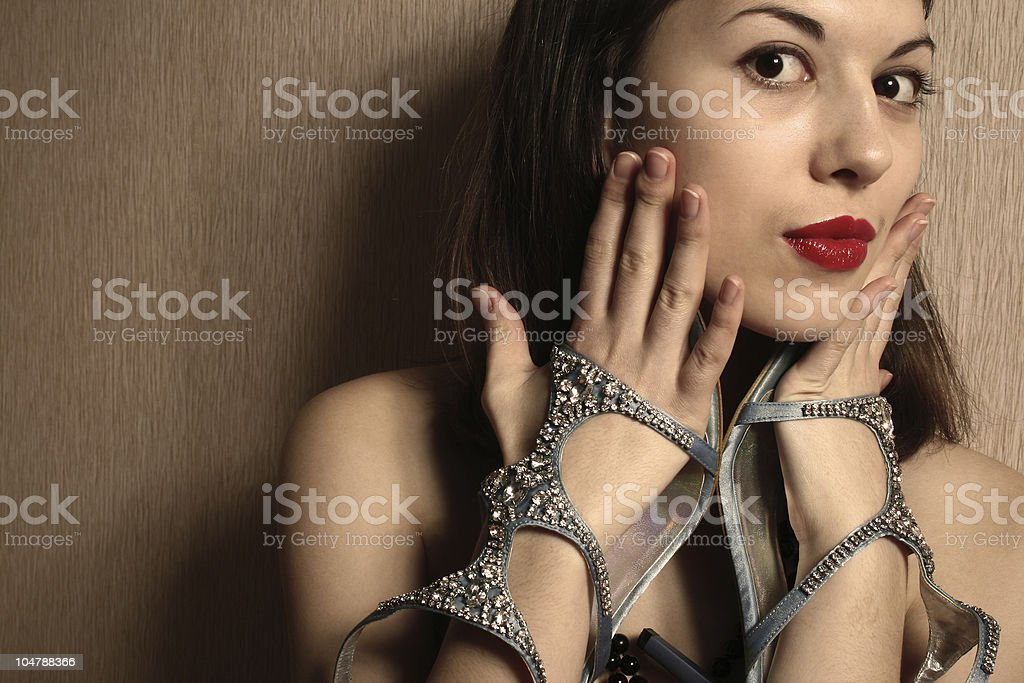 The scared girl with shoes. royalty-free stock photo