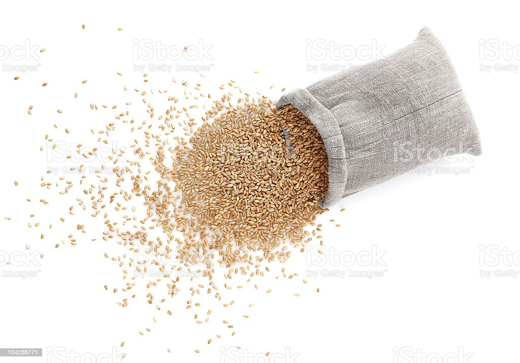 The scattered bag with wheat royalty-free stock photo