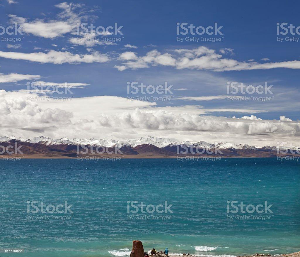 the scenery of Namtso Lake, Tibet, China. stock photo