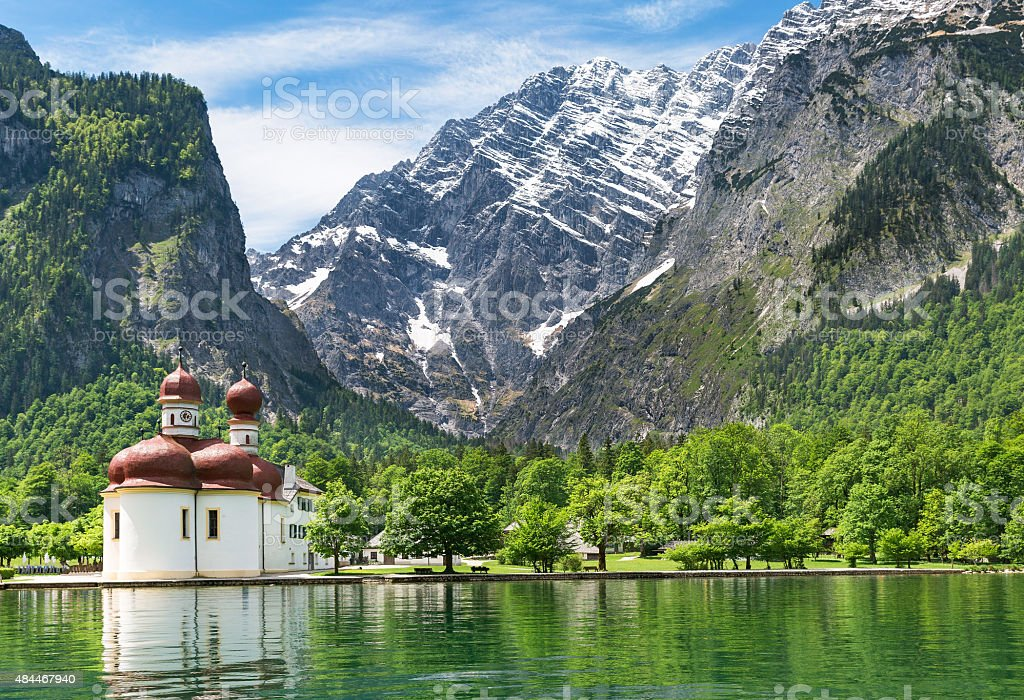 The scenic Koenigssee lake stock photo