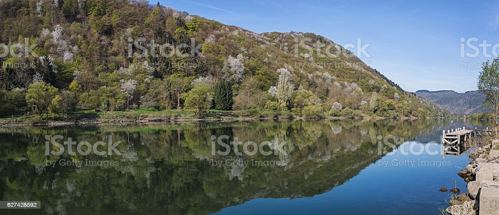 The scenic River Moselle, Germany. stock photo