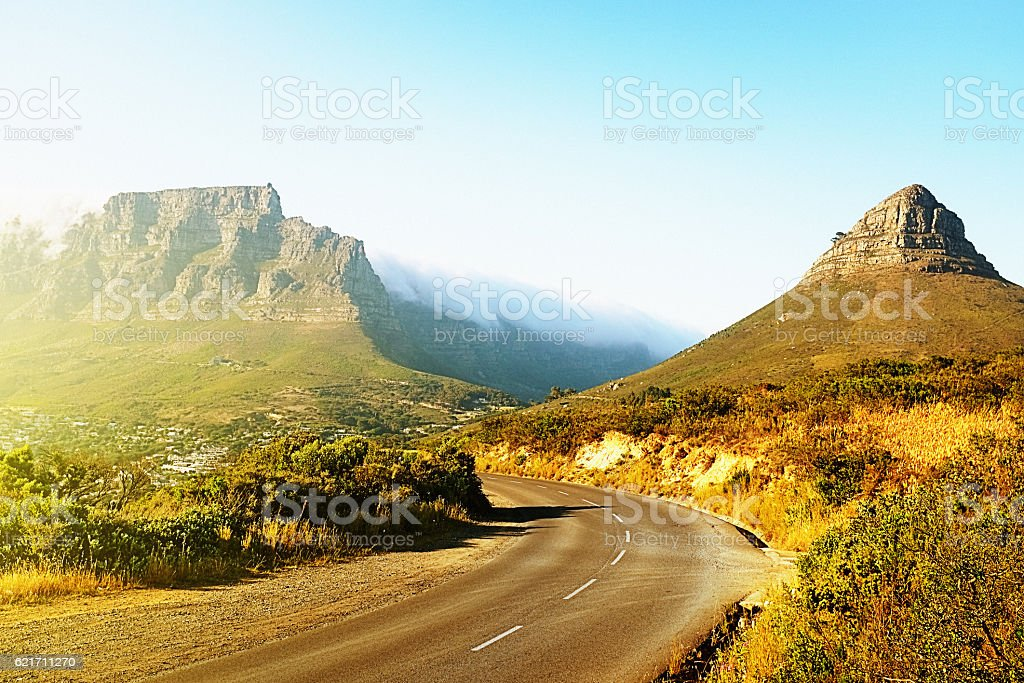 The scenic road to Table Mountain stock photo
