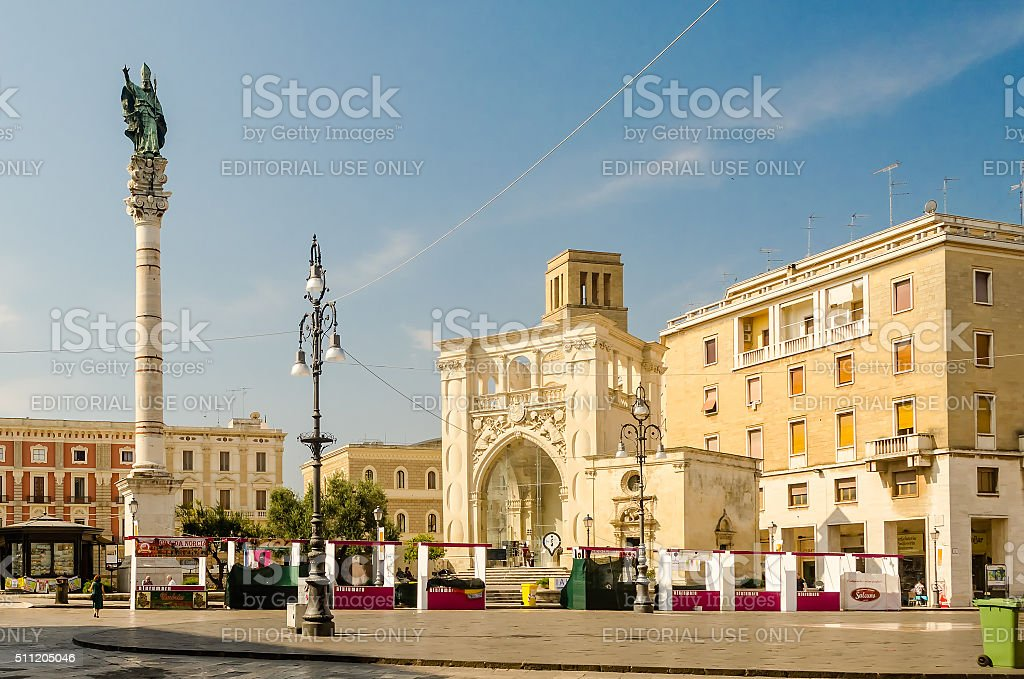 The scenic Sant'Oronzo square in Lecce, Salento, Italy stock photo