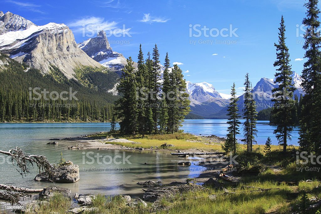 The scenic Spirit Island located on the Maligne Lake stock photo