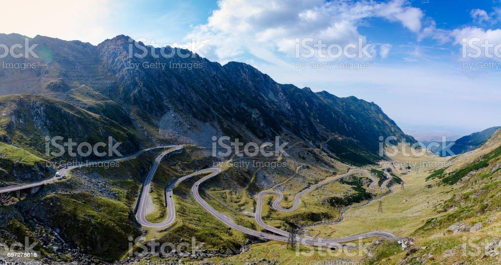 The scenic Transfagarasan highway in Romani stock photo