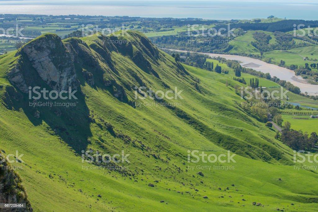 The scenic view from the summit of Te Mata Peak, Hawke's bay region, New Zealand. stock photo