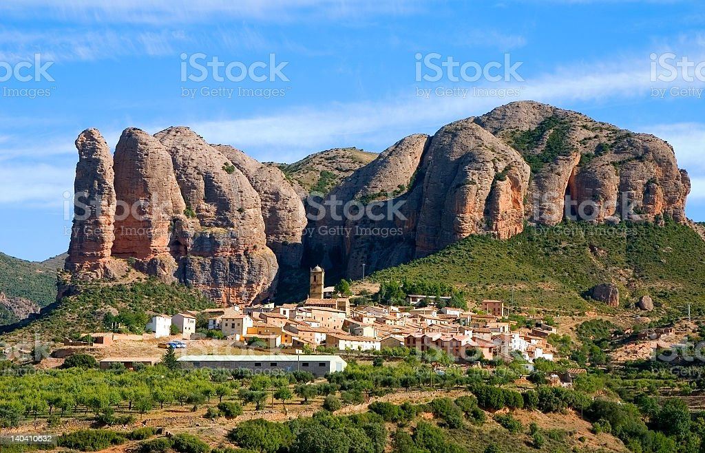 The scenic view of Aguero, Huesca in Spain during the day stock photo