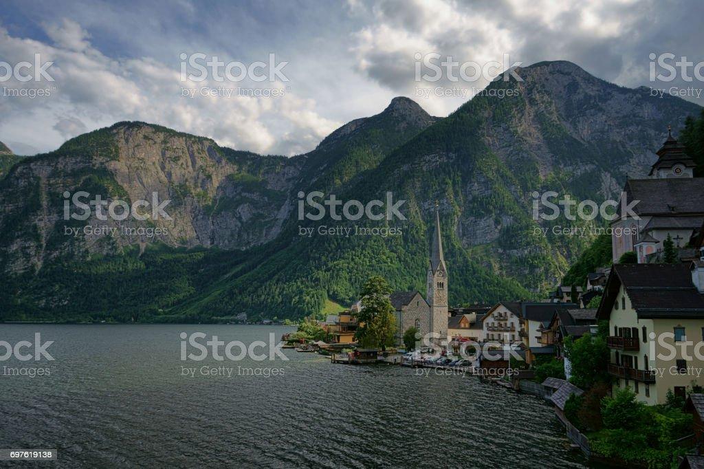 The scenic view of Hallstatt in Austria during summer stock photo