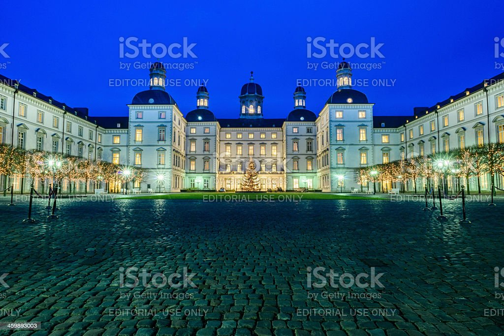 the 'Schlosshotel Bensberg' at blue hour in a Christmas lighting stock photo