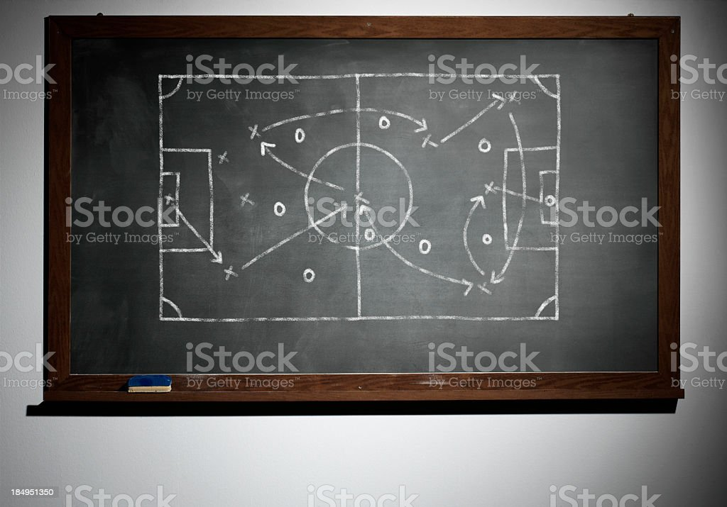 The school board and chalk-drawn soccer game plan royalty-free stock photo