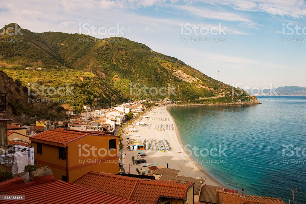 the scilla beach town on the Strait of Sicily stock photo