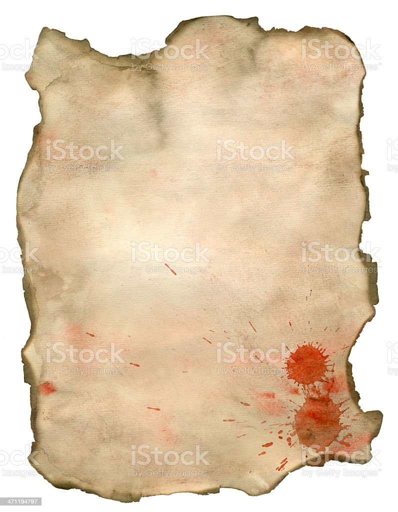The scorched paper, signature  by blood royalty-free stock photo