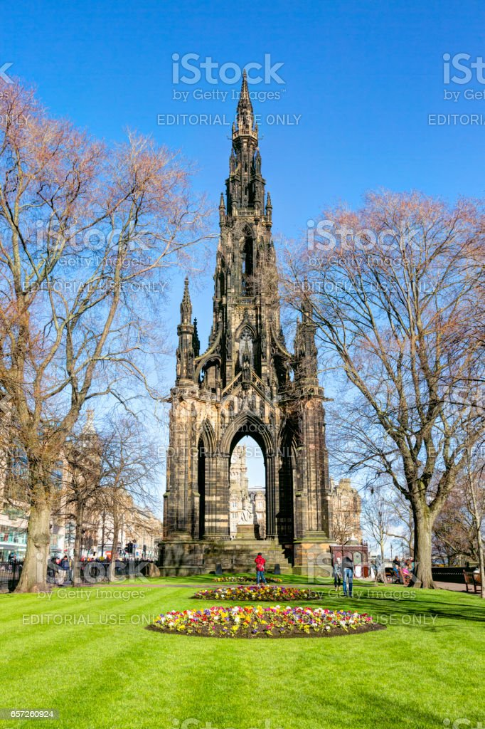 The Scott Monument in Princes Street Gardens, Edinburgh stock photo